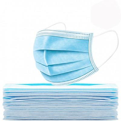 厂家直销一次性成人平面口罩 蓝白色