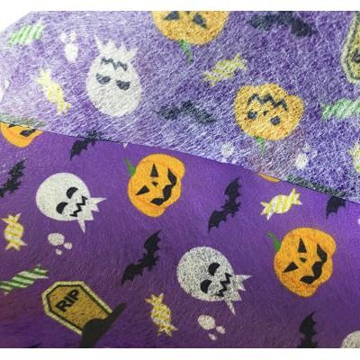 厂家直销新款万圣节系列 水刺无纺布 搞怪南瓜骷髅图案