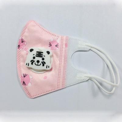 KN95儿童口罩带呼吸阀防尘防护 粉色狐狸图案