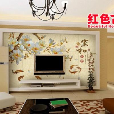 园林建材 生态定制 墙面建材定制、荷香鸟立、艺术电视背景墙